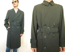 Vintage army green trench pea coat jacket mens size 36 R small or medium 36R