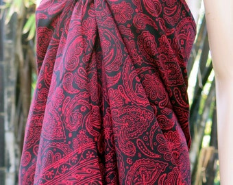 Red and Black Sarong, Beach Sarong, Pareo