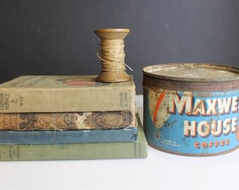 Vintage Maxwell House Coffee Tin // Rusty Rustic Advertising Tin