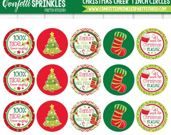 "INSTANT DOWNLOAD ""Christmas Cheer"" Winter Holiday 4x6"" 1"" Inch Bottle Cap Image/Digital Collage Sheet"