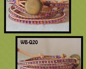 WB-Q20 quad beaded wrap bracelet - natural leather with rainbow transparent lilac seed bead