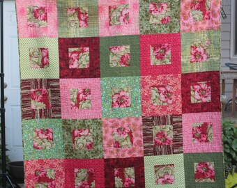 Colorful Lap or Bed Quilt, Handmade Red Coral and Green Large Patchwork Quilt