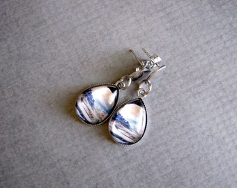 Glass Photo Drop Earrings : Moon Scene