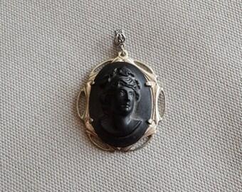 Vintage Black Glass Victorian Cameo Silver Pendant