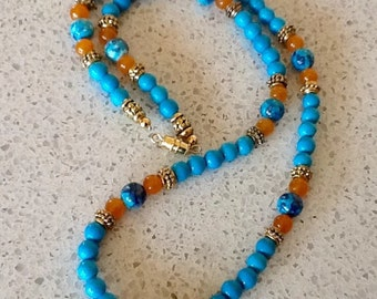 Faux Turquoise & Yellow Jade Beaded Necklace