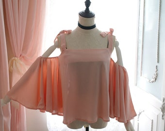 Boho Romantic Angel Pink Chiffon Butterfly Bold Bell Sleeves Off Shoulder Blouse Top ,
