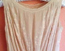 Vintage 30s / 40s Full Length Bias Cut Silk Nightgown with Floral Bodice / Size Medium