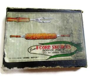 Vintage Corn Holders Bamboo and Stainless Steel  Skewers Viking of Japan 1960s
