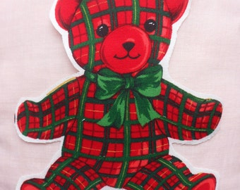 Set of Ten Teddy Bear Appliques, Red Plaid Teddy Bear with Green Bow