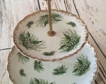 Vintage Original NAPCO 2 tier China Cake Stand, Cup Cake Stand, Holiday Dessert Plate Stand