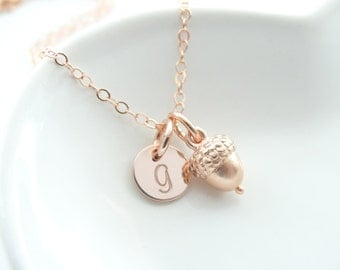 Rose Gold Acorn Necklace Rose Gold Filled Chain Acorn Necklace Rose Gold acorn necklace gold acorn jewelry autumn necklace fall necklace