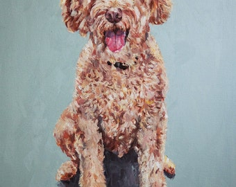 Personalized Pet Portrait Oil Painting XLarge commissioned Christmas gift 24x36