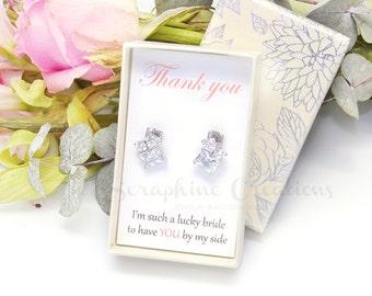 Cubic Zirconia Bridesmaid Gifts, Bridesmaid Earrings, Square Heart Cut Bridal Gifts Wedding Earrings Crystal Bridesmaid Jewelry Modern K156