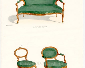 French Interior Design Print of Chairs by Guilmard Paris c1866. Original French Antique Hand coloured Lithograph. Decorative Furniture Art