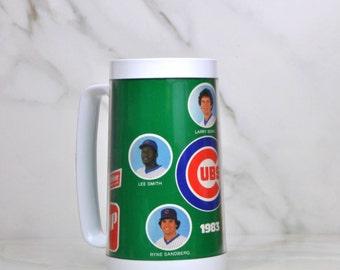Vintage 1983 Chicago Cubs 7up Wrigley Champions Thermo Mug By Thermo-Serv - Larry Bowa - Lee Smith - Ryne Sandberg - Ron Cey - Jody Davis