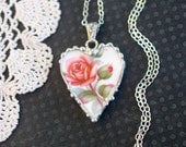 Necklace, Broken China Jewelry, Broken China Necklace, Heart Pendant, Peach Rose, Sterling Silver, Soldered Jewelry