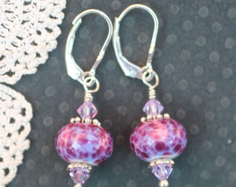 Lampwork Bead Earrings, Lampwork Jewelry, Handmade Pink and Purple Beads, Sterling Silver
