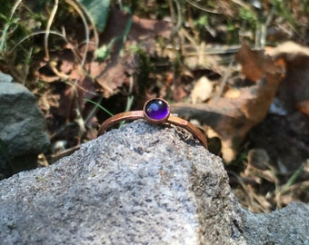 Fired Copper Amethyst Ring