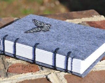 "Butterfly Journal and Sketchbook, handmade, 4 x 6"" coptic bound felt"