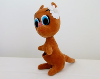Kamar Kangaroo Made in Japan 1966 Brown Stuffed Animal Cute with Flower