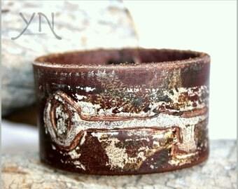 Painted leather cuff   Mens Womens   Tooled Leather Bracelet   Leather Wristband   Steampunk BraceletUpcycled Belt Bracelet