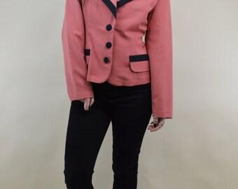 80s Heathers Salmon Pink Black Trim Shoulder Pads Boxy Button Through Slouchy Suit Jacket M