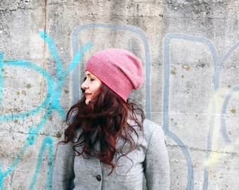 Cashmere & Merino hat in red, beanie- women's hat, knit hat, present for her