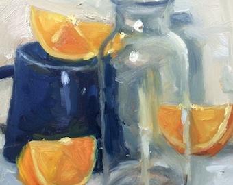 Unruly Citrus, original still life oil painting.