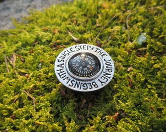 The Journey Begins With a Single Step Pocket Compass- Gifts for Graduation- Adventure and Explorer Gifts