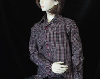 Dress Shirt of navy and red plaid for 70cm Super Senior Delf BJD and 64 cm Ringdoll guy
