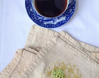 Coffee Dyed Handprinted Napkin Set / Set of 6