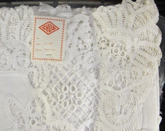 """Vintage 80's battenburg lace tablecloth and matching napkins 72 x 90"""" new old stock"""