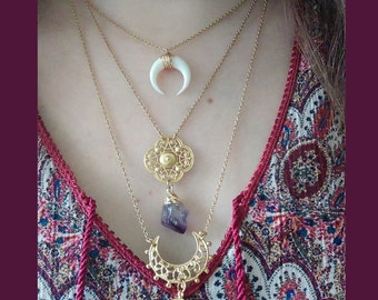 Boho necklace - Crystal necklace - Bohemian necklace - Boho choker - Short necklace - Gemstone necklace - Amethyst necklace - Bohemian jewel