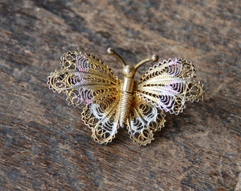 Vintage 800 Silver Butterfly Brooch Art Deco Filigree Cannetille Gold Vermeil Coin Silver European 1930's 1940's // Vintage Silver Jewelry