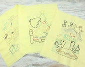 Vintage Embroidered Nursery Rhyme Quilt Squares (set of 6).