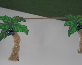 Party Garland/Banner/Luau Palm Trees- Beach Sand & Coconuts Hanging From Jute Rope- Luau Party, Beach House, Tiki Bar
