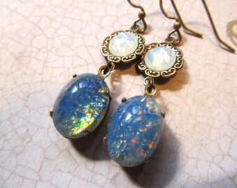 Black Opal Earrings Fire Opal Earrings Ocean Opal Earrings Blue Opal Earrings Art Nouveau Earrings 1920s Earrings Brass Earrings-Serene
