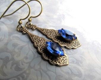 Art Deco Earrings Art Nouveau Earrings Gypsy Earrings 1920s Earrings Filigree Earrings Cobalt Blue Earrings Blue Earrings -Bombay Nights 2