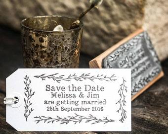 Save The Date Stamp Olive Leaf