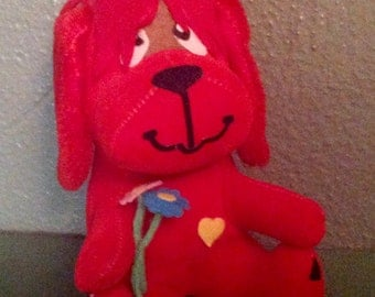 Vintage Dakin Dream Pet red dog with flowers Japan stuffed animal toy