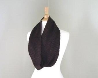 Luxury Infinity Scarf, Hand Knit Cowl Scarf, Merino Wool & Silk, Dark Brown, Loop Wrap Scarf