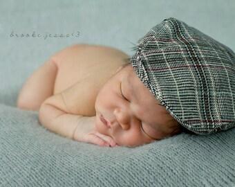 Newsboy Hat Plaid gray - Newborn photography props (Driving Hat)