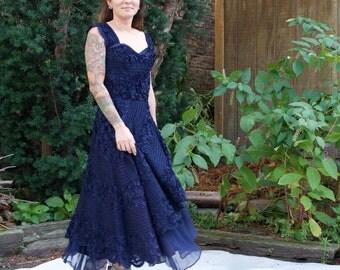 Vintage 50s Party Dress - Dark Navy Blue, Sweetheart, Ruffle, A-Line, Tea Length - XS/S