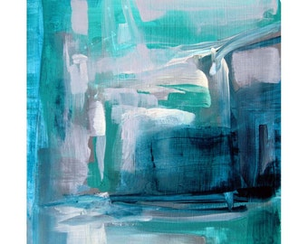 "Abstract painting Titled 'Aqua Edge II' by Victoria Kloch, aqua, deep turquoise, cream and grays, wall art, acrylic on canvas, 8"" x 10"""