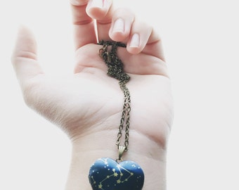 STELLAR a constellation star map heart shaped locket necklace