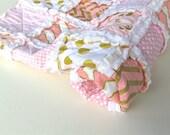 Baby Rag Quilt, Glitz Rag Quilt in Pink with White Minky