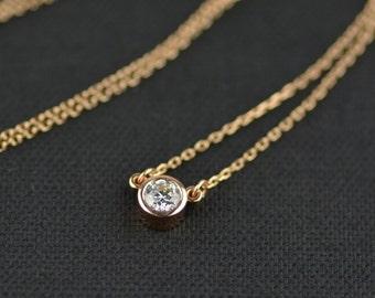 Genuine Diamond 14k Rose Gold Necklace