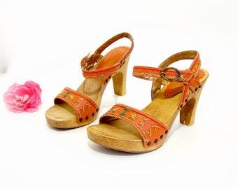 Womens Somethin' Else Platform Sandals by Skechers Vintage Retro Strappy Orange Leather Wooden Platform Shoes size 8