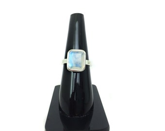 Fine Quality Rainbow Moonstone Blue Flashy Emerald Cut Faceted Gemstone Sterling Silver Ring, wedding engagement ring gift for her partywear