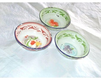 1940s Porcelain Enamel Flowered Bowls, Set of 3